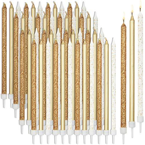 Velas de cumpleaños de panda azul con soportes, 2 paquetes de 24, 3 colores dorados