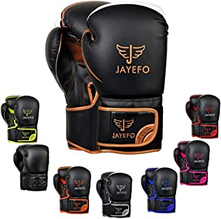 Jayefo Glorious Boxing Gloves Muay Thai Kick Boxing Leather Sparring Heavy Bag Workout Pro Leather Gloves Mitts Work for Men & Women