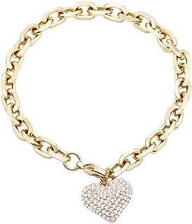 Bracciale a cuore per donna, bracciale da polso con catena a maglie placcate in argento placcato oro rosa con cristalli di...
