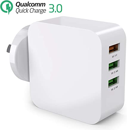 USB Charger, Splaks Quick Charge 3 USB Port AU Wall Plug AC Power Adapter Charger for Samsung S/Note/6/7/8/9 Many Other QC Certificated Devices (Quick Charger 3 Ports)