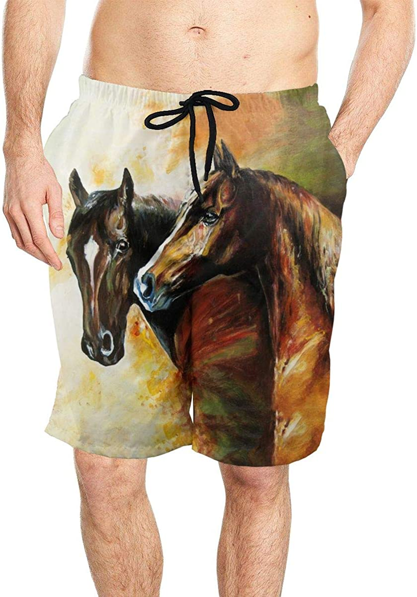 DASMUS Horses Oil Painting Men's Drawstring Beach Board Shorts Swim Trunks with Mesh Lining