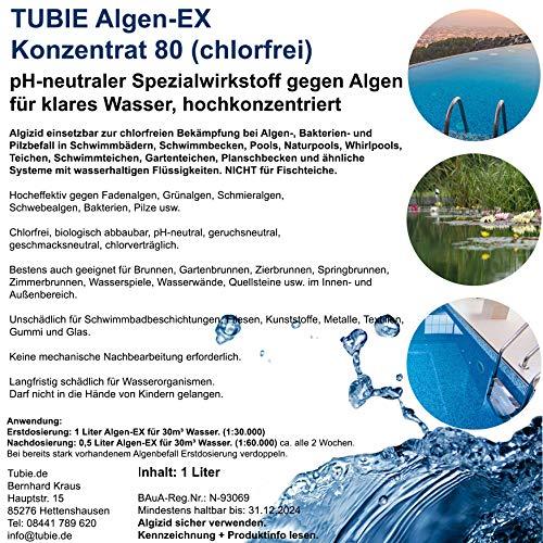 Premium Algen-EX Konzentrat chlorfrei Algenentferner Wasserklärer Algenvernichter Teichreiniger Algizid Pool & Teich (1 Liter)