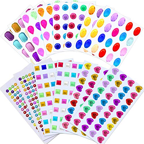 Selizo Craft Gems Self Adhesive Rhinestones Stickers Jewel Stickers Craft Jewels Stick On Gems Bling Crystal Diamond Stickers for Crafts, Assorted Shapes, Sizes and Colors (658Pcs, 14 Sheets)