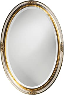 Howard Elliott Carlton Hanging Oval Wall Mirror, Vanity, Decorative, Antique Bright Silver Leaf and Gold Accent, 22 x 32 Inch