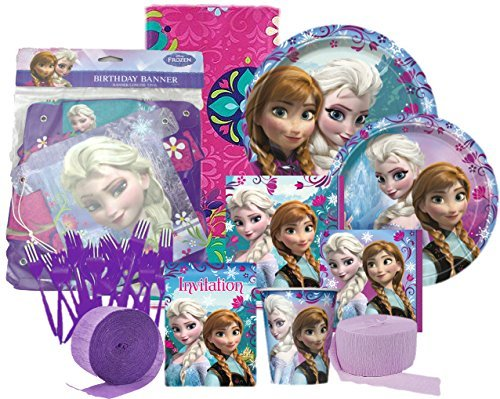 Fantastic Prices! Disney Frozen Elsa & Anna Ultimate Birthday Party Supplies Pack for 8 Guests: Plat...