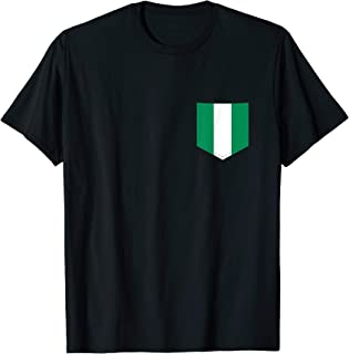 Nigeria Flag with Printed Nigerian Flag Pocket T-Shirt