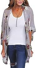 Mikey Store Kimono Cardigans Floral Loose Half Sleeve Shawl Chiffon Casual Cardigan