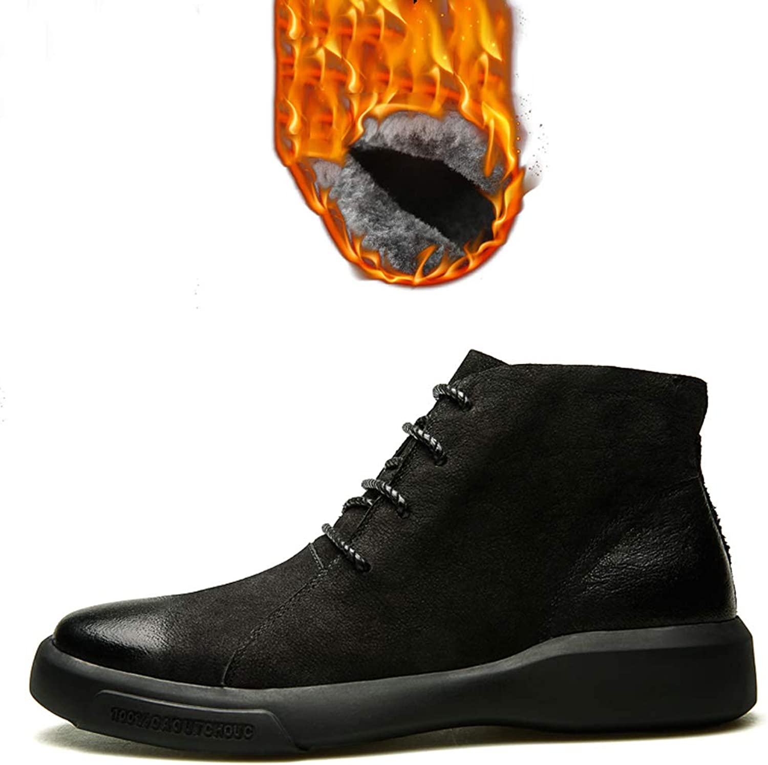 Martin boots, men's autumn and winter tide leather boots - retro boots in the middle - tooling shoes - plus velvet style