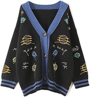 XIELH Cardigans De Punto Patrón De Bordado Femenino Botones Gruesos Jerséis Suéteres Sueltos Abrigos