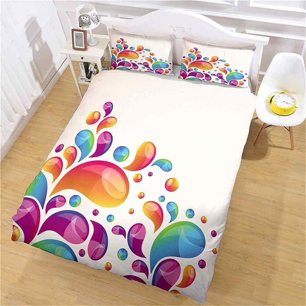 1 year warranty AKGTWX Duvet Cover Twin Size Creative Colorful 3D Drops Pr Under blast sales Water