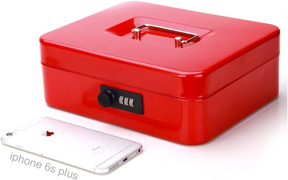 Safe Cash Box with Combination Lock Black 9 4//5 x 7 4//5 x 3 1//2 Decaller Medium Money Box with Money Tray Locking Storage Box