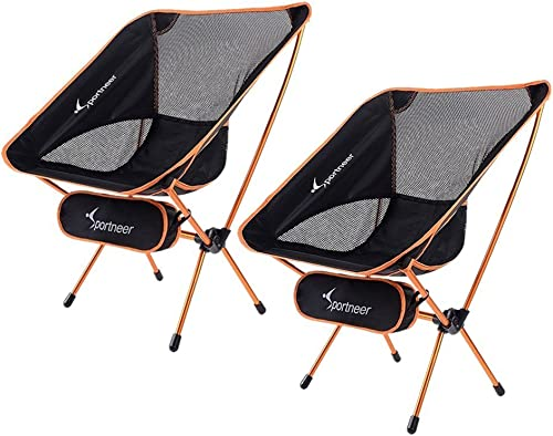 Sportneer Camping Chairs, Portable Ultralight Folding Camp Chair with Carry Bag, Heavy Duty 350lbs Capacity for Outdo...
