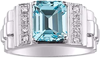 RYLOS Mens Ring with Emerald Cut Shape Gemstone & Genuine Sparkling Diamonds in Sterling Silver .925-10X8MM Color Stone - Designer Style