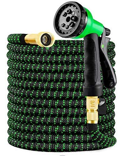 HBlife Tubo da Giardino Tubo Acqua Giardino Tubo da Giardino Estensibile 15M 50FT Raccordi in Ottone Massiccio Tubo Flessibile per Acqua con Valvola di Arresto ugello di Spruzzo (Verde, 15M 50FT)