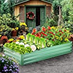 "zizin Metal Raised Garden Bed Outdoor Large Square Planter Box for Vegetables Flower Bed Kit, 68"" W x 35.4"" L 9 Size: 68.1""(L) x 35.4""(W) x 11.8""(H), provide sufficient space to grow vegetables, flowers or other plants Durable: made of galvanized metal, corner and frame are reinforced, more stable and durable, can be used for a long time Bottomless Frame: provide a good drainage effect, make the soil more permeable to protect the plant root, so the plants would grow better"