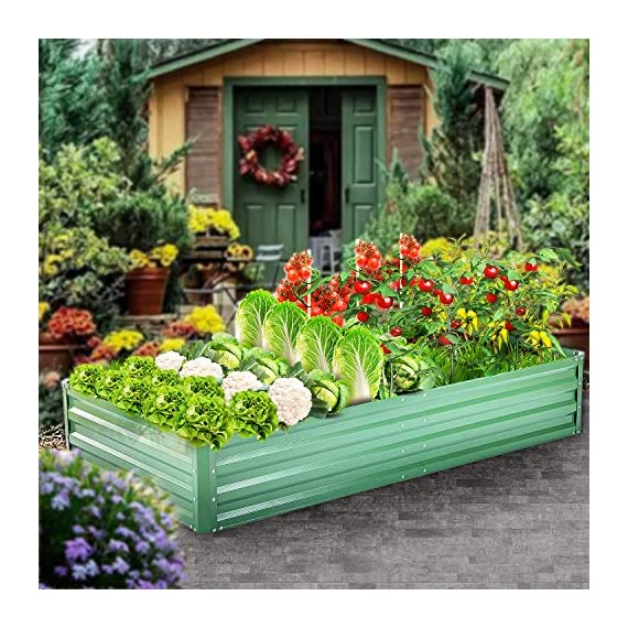 "zizin Metal Raised Garden Bed Outdoor Large Square Planter Box for Vegetables Flower Bed Kit, 68"" W x 35.4"" L 2 Size: 68.1""(L) x 35.4""(W) x 11.8""(H), provide sufficient space to grow vegetables, flowers or other plants Durable: made of galvanized metal, corner and frame are reinforced, more stable and durable, can be used for a long time Bottomless Frame: provide a good drainage effect, make the soil more permeable to protect the plant root, so the plants would grow better"