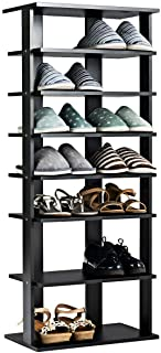 Tangkula Wooden Shoes Racks, Entryway Shoes Storage Stand, Modern 7 Tiers Shoe Rack Organizer, Multi-Funcion Shoe Rack Shoe Box, Storage Shelf (Black, Double)