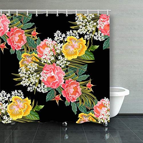 BGNHG Cortina de la Ducha Shower Curtain Vintage Seamless Pattern Beau
