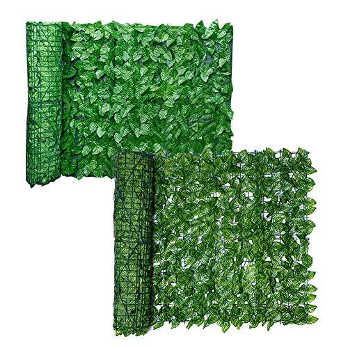 SyeRum Künstliche Hecken,Sichtschutzhecke aus künstlichen Efeublättern, Hängepflanzen Efeu Rebe Wand Pflanzenwand für Outdoor Indoor Garden Zaun Hinterhof