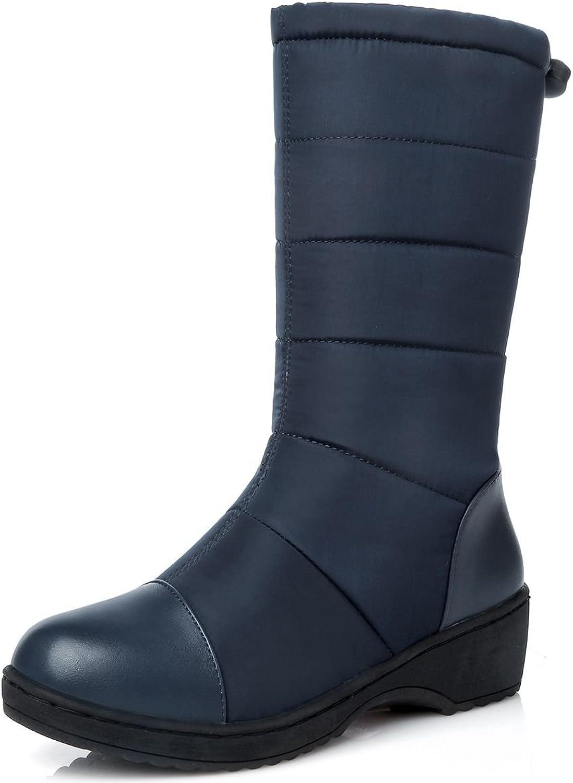 DoraTasia Synthetic Patent Leather Mid Calf Round Toe Flat Heel Women's Boots