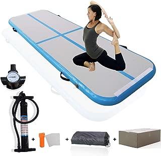 KEMAX 10' x 3.3' Free Hand Pump Inflatable Gymnastics Mat Inflatable Gym Mat on Water Inflatable Yoga Mat Air Track Inflatable Tumbling Mat Inflatable Yoga Gymnastics Mat Air Track Mat