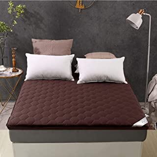 Soft Breathable Sleeping Mattress Topper,not-Slip Cotton Tatami Folding Mat,Single Double Student Dormitory Mattress Pad-Brown 120cm×195cm(47x77inch)