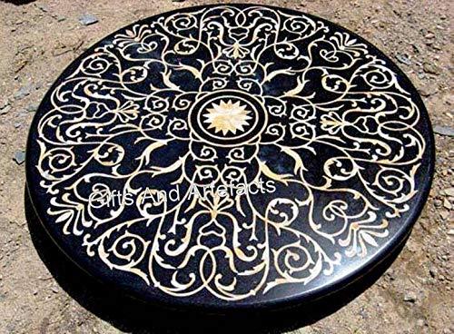 Mesa de comedor redonda de mármol negro con patrón floral incrustación arte oficina mesa de reuniones de Indian Handicrafts 60 pulgadas