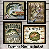 Fishing Posters Wall Art Prints - Set of Four (8X10) Vintage Unframed Reproduction Photos - Great For Fishermen, Home Decor or Gifts - Heddon, Lunkers