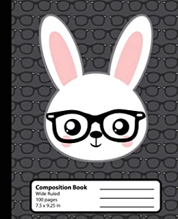 Composition Book: Rabbit Kawaii Notebook for Girls or Boys. Cute Bunny Hipster Anime Animal with Nerd Glasses. Wide Ruled Journal, 7.5 x 9.25 in, 100 ... school students and teachers (Kawaii So Cute)