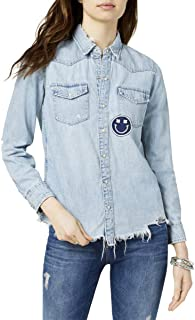 Lucky Brand Womens Plus Distressed Button-Down Denim Shirt