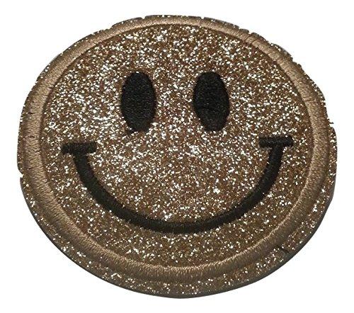 Bügel Iron on Smiley Aufnäher Patches Glitzer für Jacken Cap Hosen Jeans Kleidung Stoff Kleider Bügelbilder Sticker Applikation Aufbügler zum aufbügeln Farbvarianten ca 6 bis 6.5 cm (Gold)