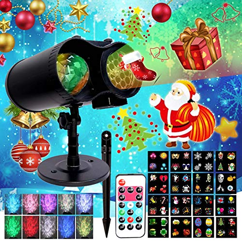 LED OceanWave Christmas Halloween Projector2-in-1 Lights Moving Patterns Xmas OutdoorIndoor Waterproof RemoteControl LightsMultiColor Lamp Decorative for Party RotatingEffect 16Slides 10Colors