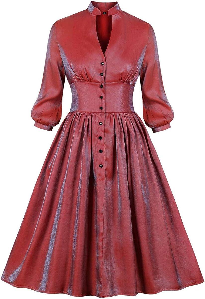 Lazapa Retro Dress for Women V-Neck Waist Plaid Button Ruffled Pleated Dress Fall Fashion Skinny Wild Shift Dress Black