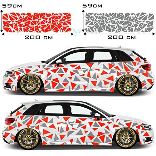 Auto Dreiecke Autoaufkleber Sticker Seite Auto Car-Tattoo Farbig Tarn-Look Camo Aufkleber 222 Stück Camouflage Style Seitenaufkleber