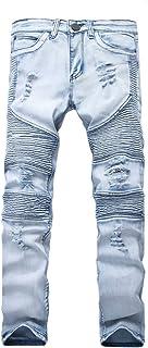 LONGBIDA Destroyed Mens Slim Denim Straight Biker Skinny Jeans Casual Long Men Ripped Jeans