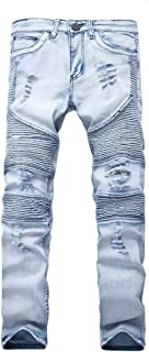 NOAZORO Men's Ripped Slim Fit Skinny Destroyed Distressed Tapered Leg Jeans