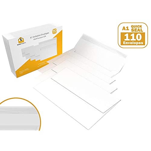 "110 3.5x5 White RSVP Small Envelopes - A1 - for Weddings Response Cards, Baby Showers, Thank You Notes, Photos and Any 3"" x 5"" Inserts (3 5/8 x 5 1/8 inches) - W/Peel, Press & Self Seal - Square Flap"
