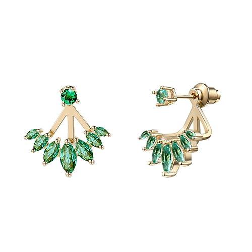 f6d8187c4 Cystal Stud Earrings Yellow Gold Clear Cubic Zirconia/Simulated Rose  Quartz/Aquarmarine/Emerald