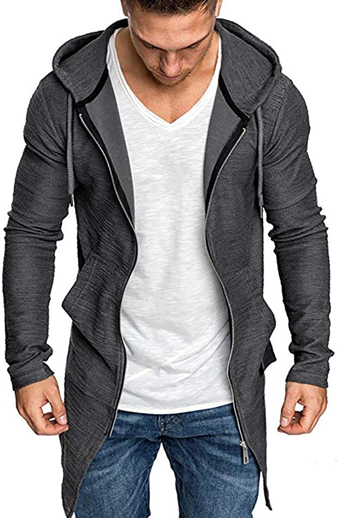 baskuwish Mens Long Cardigan Sweater Hooded Zipper Slim Fit Open Front Longline Cardigans with Pockets