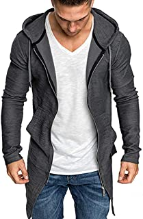 IZHH Zip Hoodie Mens Cardigan Zipper Sweatshirt Slim Hooded Solid Color Jacket