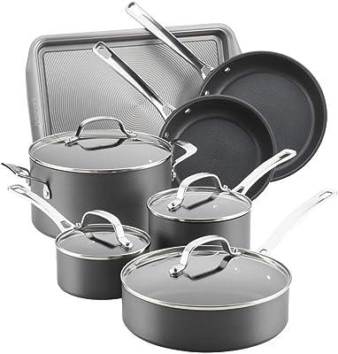 Circulon Genesis Hard-Anodized Nonstick 11-Piece Cookware Set, Gray