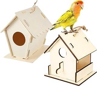 2 Juegos Kits de DIY Casas de Pájaros de Madera Kits de Pajareras de Madera Pintables sin Acabado con Cordel ara Manualidades