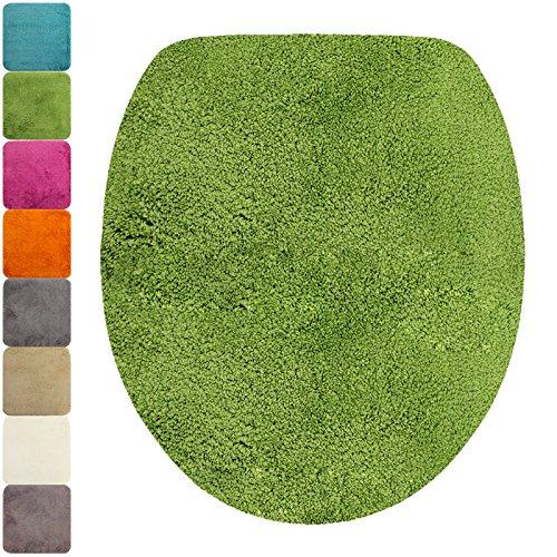 DILUMA WC-Deckel-Bezug Flauschiger Toilettendeckelbezug Klodeckelbezug mit Gummizug Premium Badteppich oval 1200 g/m² weich & kuschelig Hochflor, Farbe:Grün
