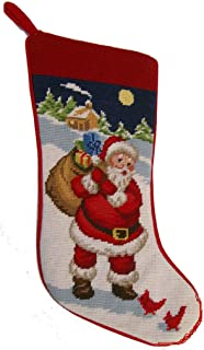 Elegant Decor Winter Nature Santa Cardinals Needlepoint Christmas Stocking