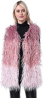 CHARTOU Women's Luxury Shaggy Color Block Sleeveless Faux Fur Vest Waistcoat Jacket