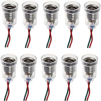 YGSAT 10er Set Evolution MR16 Fassung Sockel Keramik mit Qualit/äts 0,75mm/² Silikonkabel f/ür LED und Halogen