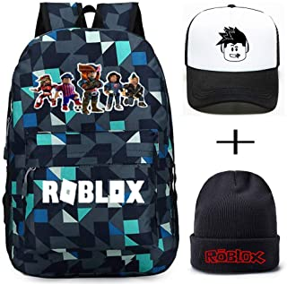 47fde8d39b Roblox Backpack With Baseball Cap and Knitted Hat, Student Bookbag Laptop  Backpack Travel Computer Bag