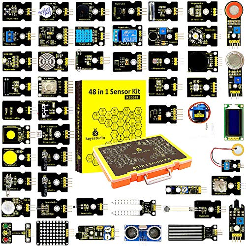 KEYESTUDIO 48 in 1 Sensor kit Projects with LCD, 5v Relay, IR Receiver, Line Tracking, Traffic Light, 9G Servo Motor Module, PIR, Reed Switch, Flame, Ultrasonic Sensor for Arduino(No Controller Board)