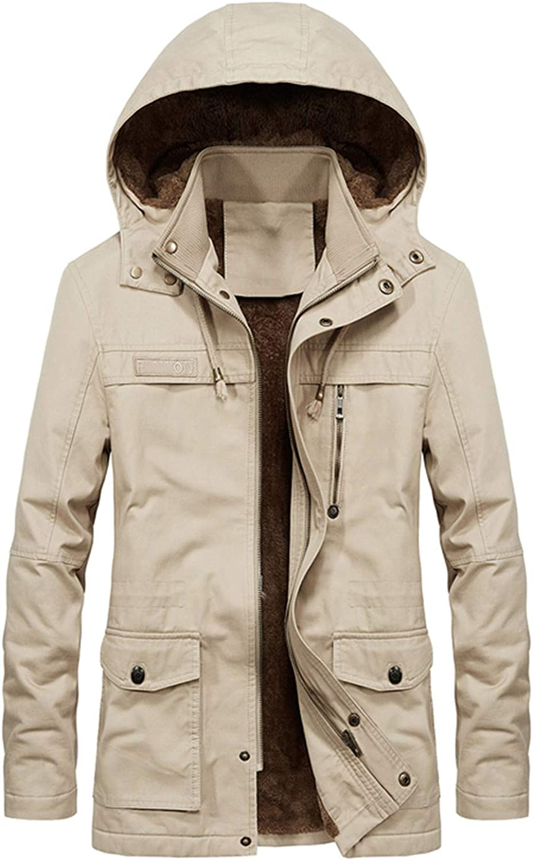 Tealun Military Thick Warm Man Jacket Parkas Casual Cotton Padded Multi-Pocket Hoodies Coat Parka