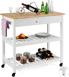 Giantex Kitchen Island Cart Multipurpose Rolling Trolley Large Wood Cart with Drawer, 2 Shelves, Lockable Castors, Towel Rack (White)